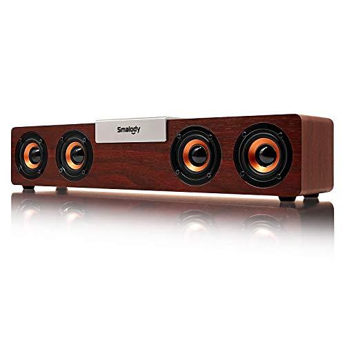 Find Bargain Computer Speakers,Smalody 20W Bluetooth5.0 pc Speaker Desktop Speaker Wired/Wireless Computer Multimedia Wood Soundbar for Computer/PC/TV/Laptop