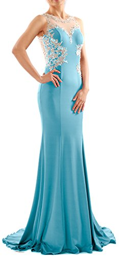 MACloth Women Mermaid Lace Jersey Long Prom Dress Formal Party Evening Gown Turquesa