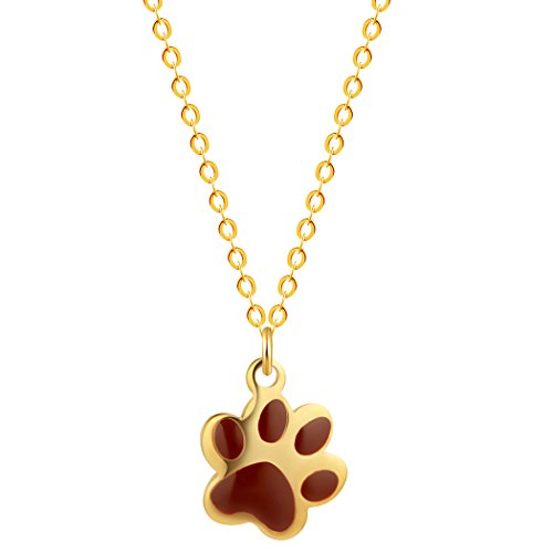 Polished Bear Pendant (Dog / Bear Paw Print Pendant Necklace Enamel Plated 925 Silver Link Chain Cute Animal Jewelry for Kids (Yellow))