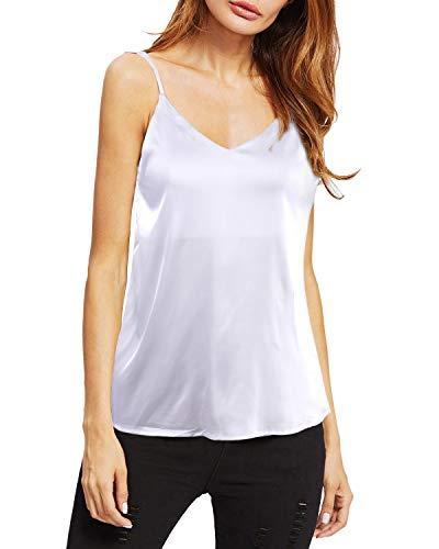 - LECCECA Women's Printed V Neck Summer Loose Sleeveless Spaghetti Strappy Cami Tank Tops (White, XL)