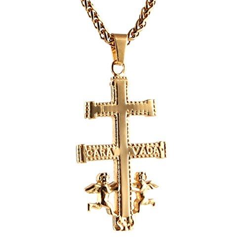 HZMAN Polished Stainless Steel Cruz De Caravaca Cross with Angels Pendant Necklace 24 Inch Chain (Gold/Big) (De Cruz Caravaca)