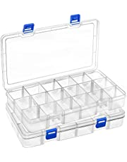 DIFIT Plastic Small Parts Organizer Jewelry Organizer Storage Box with Adjustable Dividers 18-Compartment, Set of 2