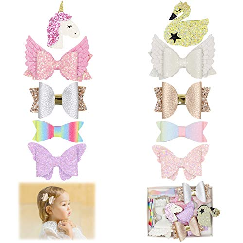 Fancy Clouds Girls Glitter Hair Bows flowers clips Barrettes,Lined Alligator,Unicorn Hair Accessories for Baby Toddler Kids (glitter)