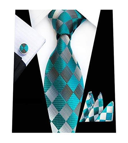 lassic Plaid Necktie Pocket Square Cufflinks Set Silver Aqua ()