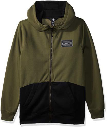 Volcom Boys Krestova 280g Hydrophobic Hooded Fleece Sweatshirt, Military Extra Large