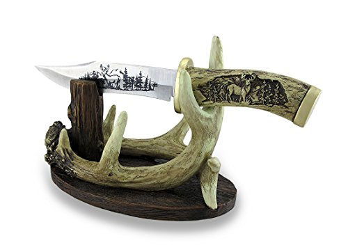 carved-look-handle-decorative-deer-knife-w-antler-display-stand