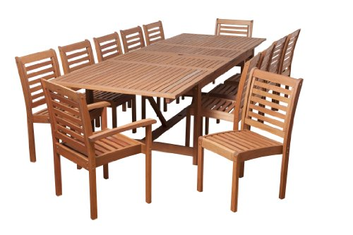 Amazonia SC Ley_10BT470_2BT421 Pensacola 13 Piece Eucalyptus Extendable Rectangular Dining Set, Brown,...