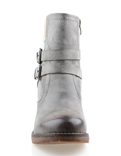 Eyekepper moda mujer forrada de piel con cremallera lateral apilados doble hebilla botin gris