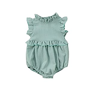 Weixinbuy Toddler Baby Girl Ruffled Collar Sleeveless Romper Jumpsuit Clothes