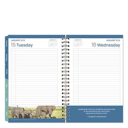 Classic Leadership One-Page-Per-Day 6 Month Wire-Bound Planner - Jan 2019 - Jun 2019