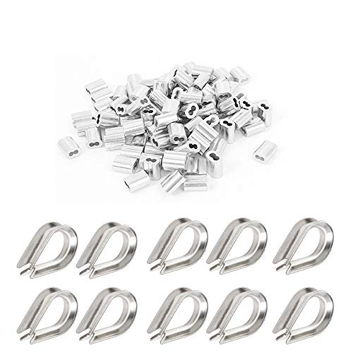 (50PCS 5/32 inch Wire Rope Aluminum Sleeves with10 pcs M4 Stainless Steel Thimble Combo)