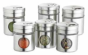 Set of 6 Spice Jars - Stainless steel with Viewing panel