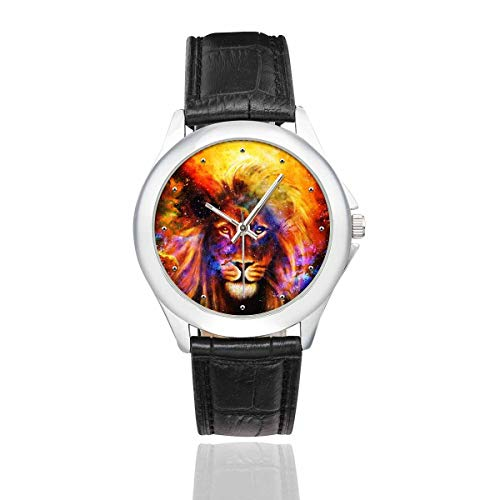 InterestPrint Lion in Cosmic Space Cool Animal Women's Waterproof Stainless Steel Watch with Black Leather Band
