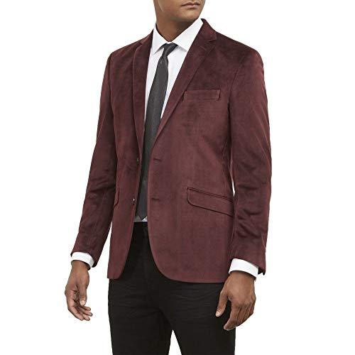 Kenneth Cole REACTION Men's Velvet Slim Fit Evening Blazer, Burgundy, 42R