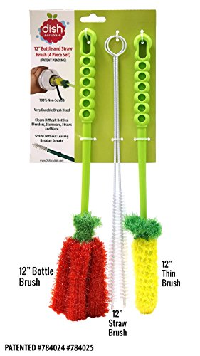 Price comparison product image Long Bottle Brush Cleaner Set (3-in-1) and Straw Brushes or Dish Brush / Thick and Thin Brush with Straw Cleaners for Washing Baby Bottle,  Water Bottles,  Mugs,  Wine Stemware,  Hummingbird Feeder