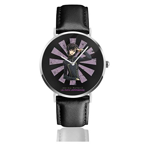Unisex Business Casual Lelouch Lamperouge Retro Japanese Code Geass Watches Quartz Leather Watch with Black Leather Band for Men Women Young Collection Gift (Code Geass Contacts)