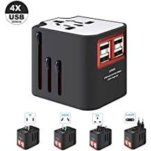 International Travel Adapter, Worldwide Travel Charger with 4 USB Ports Power Converters for EU, UK, US, USA, AU, Europe & Asia, All-in-one Universal Wall Plug Multi-Outlets Electrical Adaptor - White