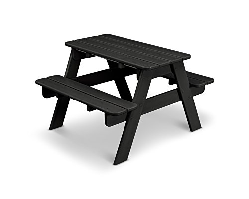 POLYWOOD KT130BL Kids Picnic Table, Black (Table Polywood Benches With Picnic)
