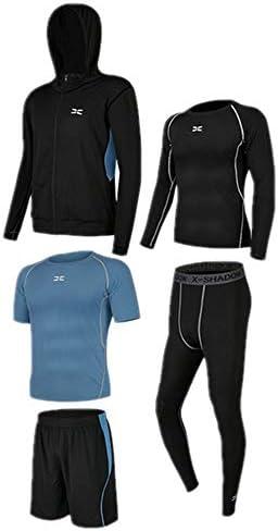 レディースジャージ上下セット 半袖Tシャツショーツメンズクイックドライコンプレッションスポーツセット長袖シャツタイトパンツ 吸汗 速乾 (Color : Black blue, Size : XL)