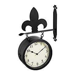 Cape Craftsmen 2-Sided Outdoor Wall Clock and Thermometer with Fleur de Lis