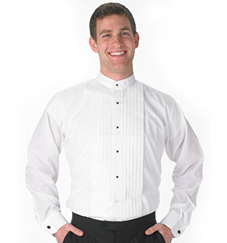 SixStarUniforms Mens Banded-Collar White Tuxedo Shirt - Large-32