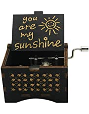 You are My Sunshine Wooden Music Box Laser Engraved Hand Crank Classical Wood Sunshine Musical Box Gift for Birthday/Christmas/Valentine's Day (Black)