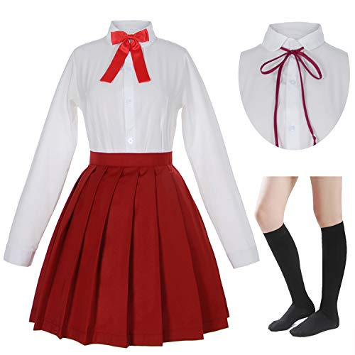 Japanese School Girls Sailor JK Uniform White Red Pleated Skirt Anime Cosplay Costumes with Socks Set(SSF32) L -