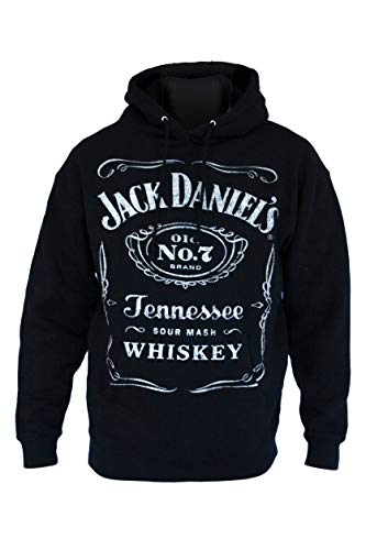 Jack Daniel's Label Pullover Hoodie - Made from Cotton and Polyester - Official Product (Large)