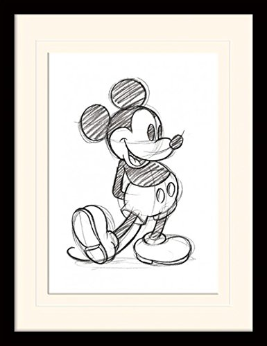 Mickey Mouse Prints - Mickey Mouse Framed Collector Poster - Sketched - Single (16 x 12 inches)