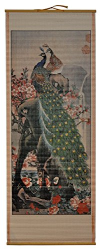 Rattan Wall Scroll - Two Peacocks With Cherry Tree (Rattan Cane Manau)