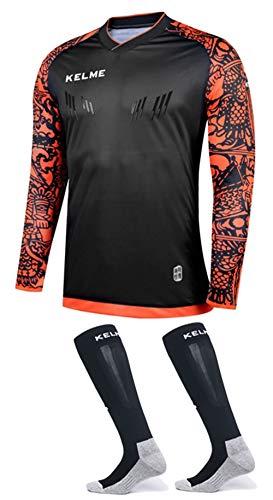 Goalkeeper Elbow - Goalkeeper Jersey Pro Bundle - Includes Premium Pro Goalkeeper Shirt and Socks (Black/Orange, Medium)