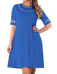 AMZ PLUS Women Plus Size Lace Scoop Neck Elbow Sleeve Straight Dress