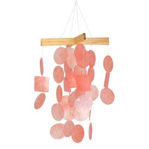 (Woodstock Chimes C135 Asli Arts Collection Mini Capiz Chime, Coral)