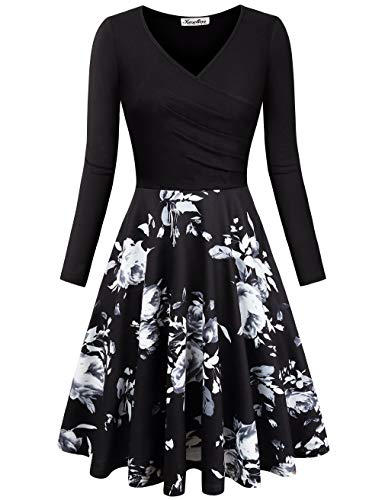 KASCLINO Retro Dresses, Women's V-Neck Floral Print Swing Autumn Winter Dress Black-White M