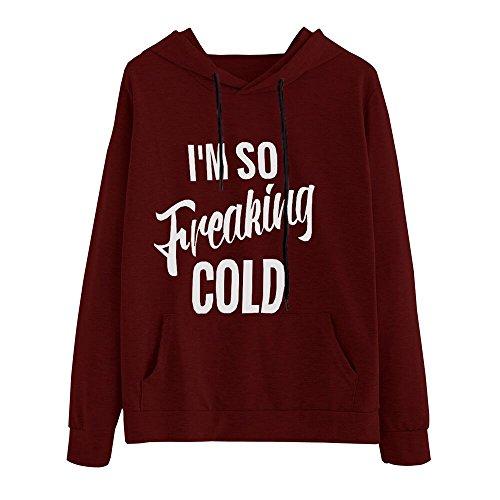 Women Hoodie Sweatshirt, Handyulong Women's O-Neck Long Sleeve Letter Print Sweatshirt Pullover Tops (M, Wine)