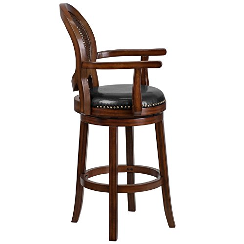 StarSun Depot 30 High Expresso Wood Barstool with Arms, Woven Rattan Back and Black Leather Swivel Seat 22.75 W x 23.5 D x 48.25 H