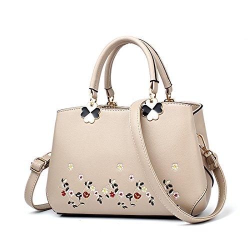 Luckywe Mujeres Bolso De Elegante Con Asas Y Bandolera Asa superior bolso bordado bolsos Bolso De Asas Beige