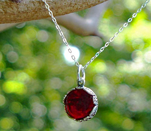 (Recycled Vintage 1940's Red Beer Bottle and Sterling Silver Botanical Collection Necklace )