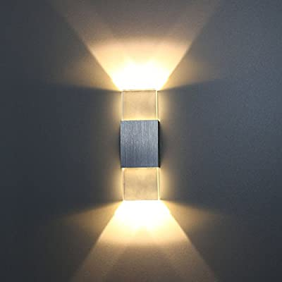 Sunsbell Modern 2W LED Up Down Wall Sconce Lighting Spotlight Aluminum Fixture Decorative Lights Lamp for Theater Studio Store Home Shop Hall Porch Bedroom Bathroom AC85-265V White