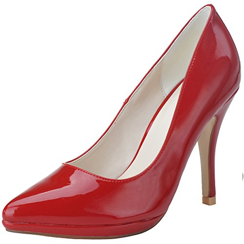 Loslandifen Femmes En Cuir Verni Pionted Orteils Talons Hauts Plate-forme Chaussures De Mariage Rouge