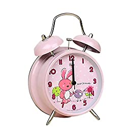 """4"""" Large Bunny Rabbit Children QUIET Alarm Clock for Kids - Twin Bell - Metal Frame –Analogue Non Ticking Clocks–Animal Nature Theme - SILENT - Battery Operated - Back Light - Child/ Boys/ Girls"""