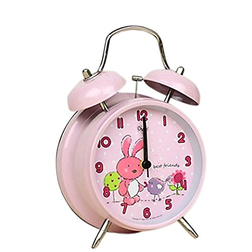 "Rabbit Clock (4"" Large Bunny Rabbit Children QUIET Alarm Clock for Kids - Twin Bell - Metal Frame –Analogue Non Ticking Clocks–Animal Nature Theme - SILENT - Back Light - Child/ Boys/ Girls)"