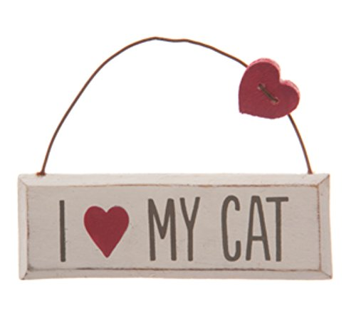 I Love My Cat Mini Shabby Chic Distressed Hanging Plaque Sign with Wooden Heart