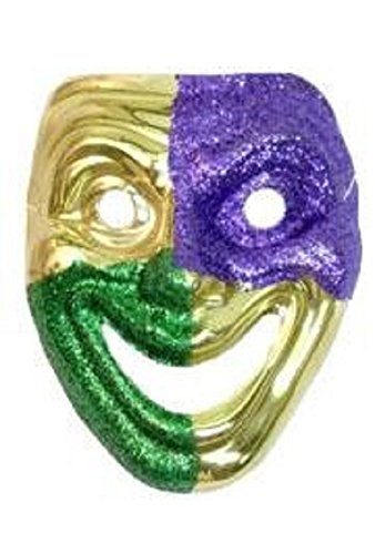 Mardi Gras Purple and Green Glittered on Gold Joker Mask, 9