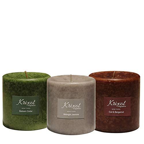 - KRIXOT Scented Pillar Candles Set of 3 Fragrances | Oud & Bergamot, Midnight Jasmine, Balsam Cedar in Mottled Finish Size 3