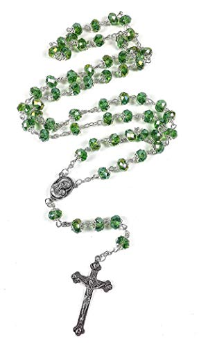 Rosary - Catholic Prayer Crystal Beads &Crucifix,6mm Beads (Green)