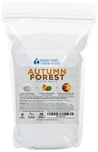 Autumn Forest Bath Salt 32oz (2-Lbs) Epsom Salt Bath Soak With Orange & Cinnamon Essential Oil Plus Vitamin C - Evoke Cozy Autumn Memories With All Natural Bath Salts