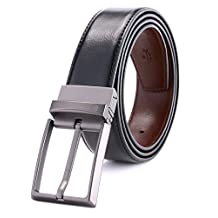 ITIEZY Men's Dress Leather Black and Brown Reversible Belt 35mm Wide