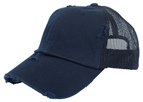 - DRY77 Trucker Mesh Baseball Cap Mens Womens Vintage Distressed 6 Panels Twill Hat, Navy Blue