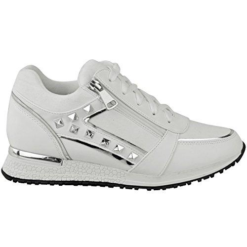 Mode Törstig Kvinna Stud Sten Sneakers Fritidskläder Gym Sportskor Storlek Vit Konstläder / Faux Mocka